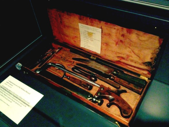 A tool kit used for amputations in the 19th century. A surgeon would slice through the skin and then saw through the bone to cut off a limb.