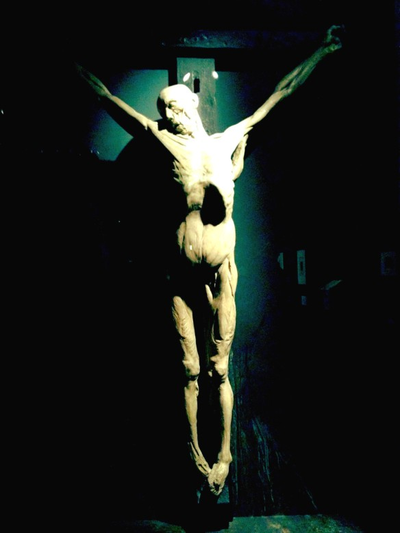 The dead body of a man was crucified and his skin removed before being placed in plaster-of-Paris. The result was this life-size model which hangs in the exhibition.