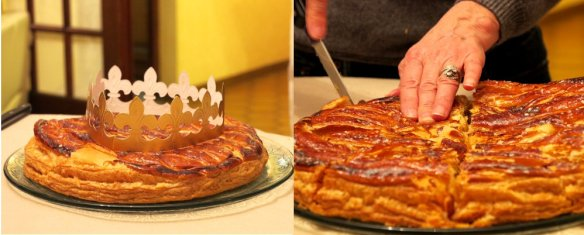 The delicious galette with its crown and being cut to be served
