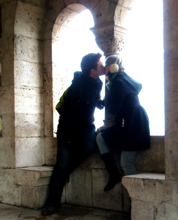 Enjoying a romantic kiss in Budapest