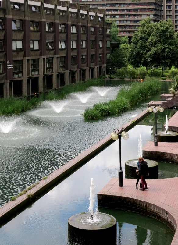 The Barbican is surrounded by office blocks and is a very popular spot for lunch