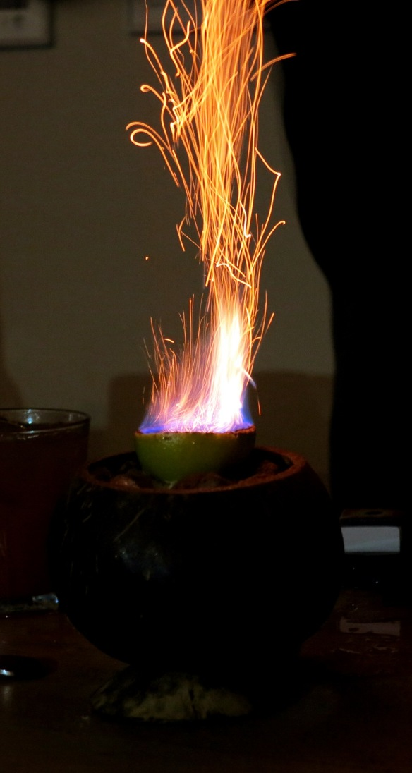The Zombie flaming in the coconut